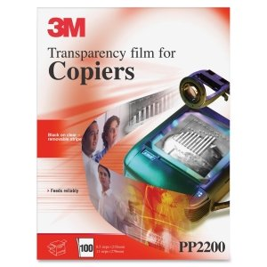 3m Recycled Transparencies - 3M Transparency Film For Laser Copiers, Removable Sensing Stripe, Letter, Pack of 100 (PP2200)
