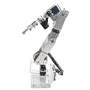 Aideepen ROT3U 6DOF Aluminium Robot Arm Silver Mechanical Robotic Clamp Claw for Arduino without Servo