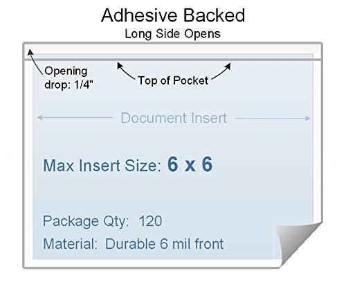 6 x 6 Adhesive Back Vinyl Plastic Sleeve, Set of 120, 1.202 Each, Long Side Opening, 6 mil Clear Vinyl - Sheet Paste Protectors Transparent