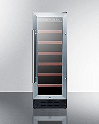 "Summit SWC1224 12"" Built-In Undercounter Glass Door Wine Cellar with Lock and Digital Controls, Glass/Black"