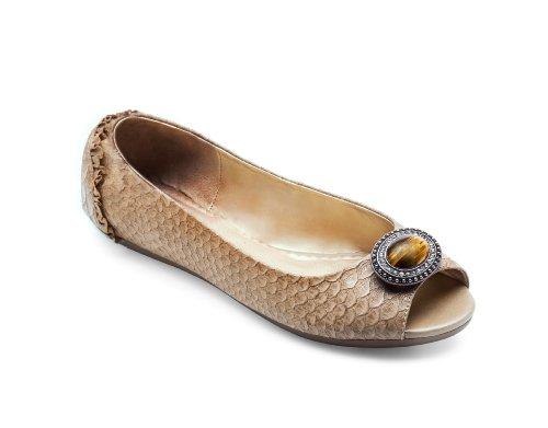 Lindsay Phillips Kate Peep Toe Flat Python by Tan Python