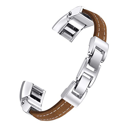 bayite Leather Bands Compatible Fitbit Alta and Alta HR, Adjustable Metal Buckle Leather Wristband, Brown Small 5.5 - 6.7