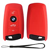 Velsman Car Smart Key FOB Silicone Case Cover Protector Holder for BMW Trapezoid Style Key with Wrist Strap – 3 Buttons - Please Double Check Your Key Configuration and Shape Before Purchasing (Red)
