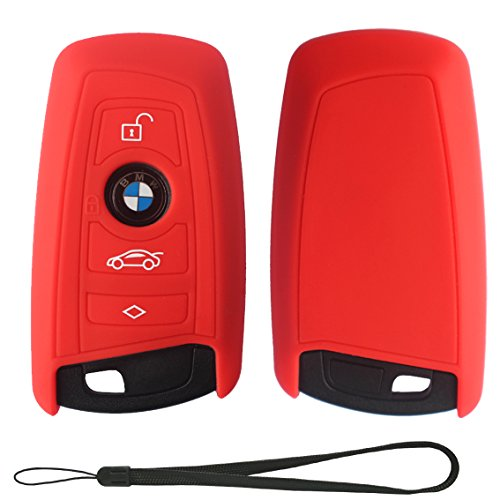 Velsman BMW Smart Key FOB Silicone Case Cover Protector Holder for BMW Trapezoid Style Key with Wrist Strap – 3 Buttons - Please DOUBLE CHECK Your Key CONFIGURTION and SHAPE before Purchasing (Red)