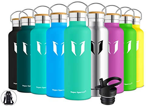 (Super Sparrow Stainless Steel Vacuum Insulated Water Bottle, DStandard Mouth -350ml-620ml- 500ml & 750ml & 1L - BPA Free - with 2 Exchangeable Caps + Bottle Pouch (Emerald, 750ml-25oz))
