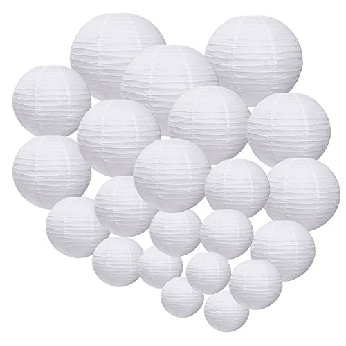 Outus 18 Pieces Paper Lanterns Round Paper Lamps for Birthday Wedding Party Decorations Crafts, 5 Sizes, White
