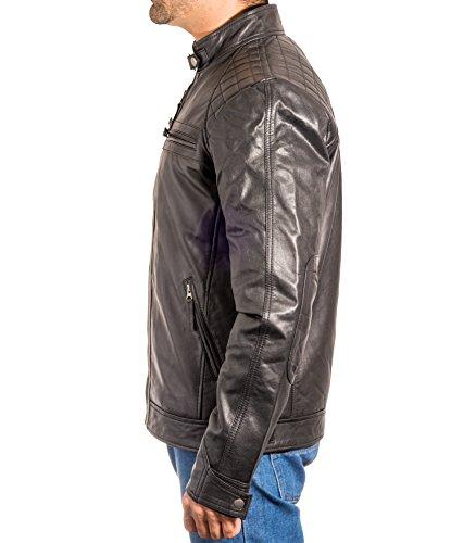 Rivestimento Che Elegante Mens Trapuntato Cuoio Con Nero Zip Corre Di Retro Vintage Dotato Motociclista q77S6vw
