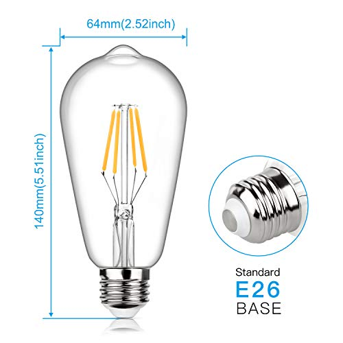 Edison Bulb, Vintage LED Filament Light Bulbs, Warm White 2700K, 470Lumens, Non-Dimmable 4W ST64 Antique LED 40W Equivalent, E26 Base, Pack of 12