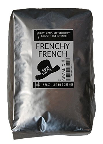 Espresso Bittersweet Chocolate - Larry's Coffee Organic Fair Trade Whole Bean, Frenchy French, 5-Pound Bag