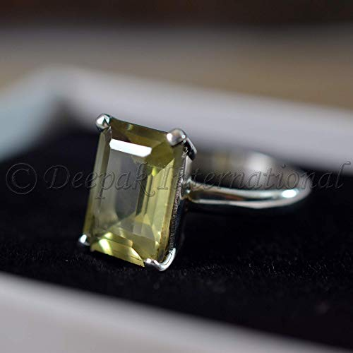 (Natural Lemon Quartz Ring Real 925 Sterling Silver Octagon Gemstone Ring Natural Lemon Quartz Unisex Ring Valentine Proposal Rings Faceted Cut Stone Ring Handmade Ring Wedding)