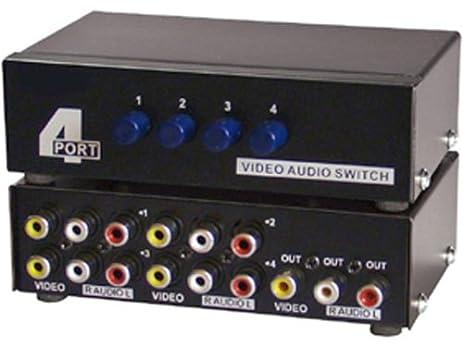 4 way audio video 3 rca input selector
