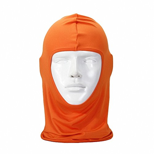 door Sports Hood Full Balaclava Windproof- Airsoft Riding Face Mask Hat Orange (Hybrid Full Face Helmet)