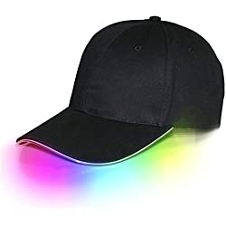 jiguoor LED Hat led Lighted Glow Club Party Sports Athletic Black Fabric Travel Flashlight Light up Hat Baseball Golf Hip-hop Sports Flash Cap Stage Performance Men Women US (Multicolored)