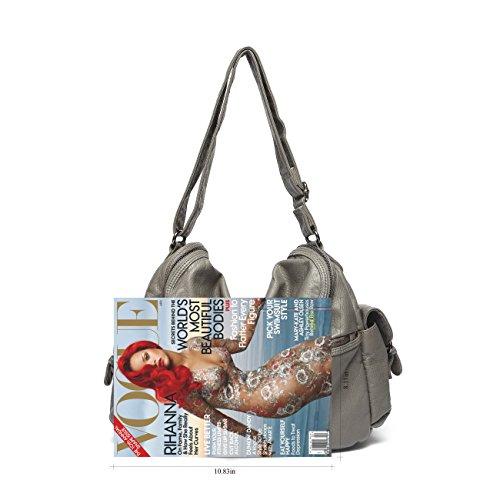 PU Shoulder Bag leather Women Handbag Mlife Grey Soft Hobo EwOafIqI