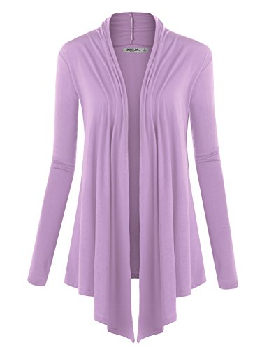 - WSK850 Womens Draped Open- Front Cardigan M Lilac