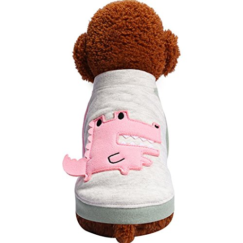 OOEOO Pet Clothes Cute Shirt Dog Cat Sweater Small Crocodile Pullover Pet Costume (Pink, L)