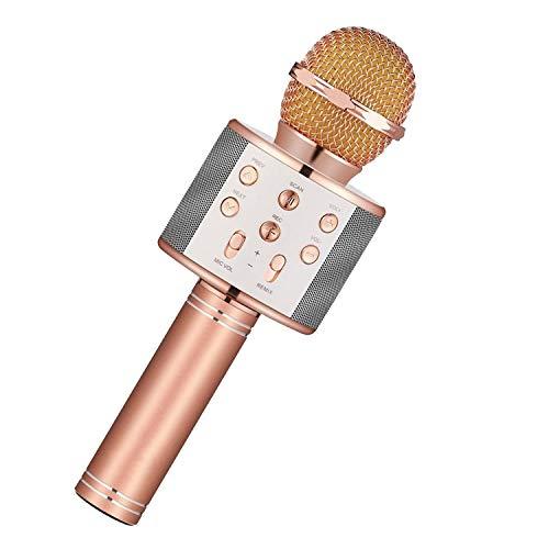 ireless Karaoke Microphone Phone Player MIC Speaker Record Music KTV Microfone,Rose Gold ()