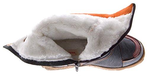 Negro de Botas para invierno de zapato con Schwarz Grau mujer piel forrado gEyqzaprE6