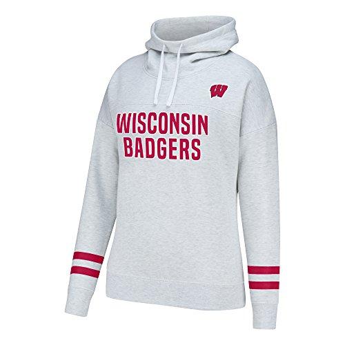 J America NCAA Wisconsin Badgers Women's School Spirit Front Row Cowl Neck Fleece, X-Large, Light Heather
