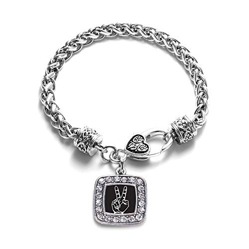 Inspired Silver - Peace Sign Language Interpreter Braided Bracelet for Women - Silver Square Charm Bracelet with Cubic Zirconia Jewelry