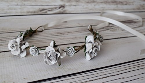 Hand Crafted Grey Flower Crown - Gray Flower Crown - Silver Flower Crown - Grey and Ivory Wedding - Medieval Flower Crown - Flower Halo -Bow