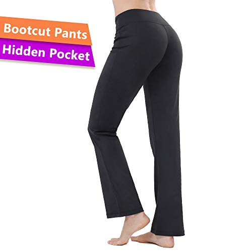 (ZEALOTPOWER Bootcut Yoga Pants Women Flare Leg Pockets Black Long High Waist)