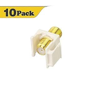 VCE (10 Pack) Gold-Plated RG6 Keystone Jack Insert,F Type RG6 keystone Connectors