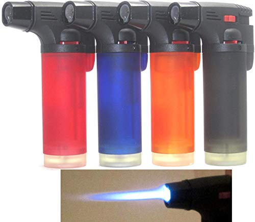 4 Pack - Wholesale Lot Single Jet Flame Torch Lighter Windproof Refillable Lighter
