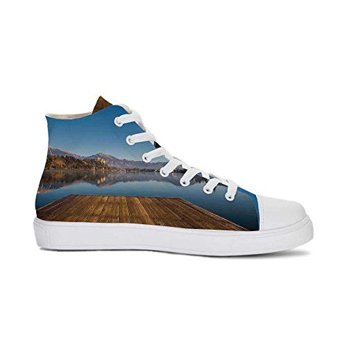 Art Durable High Top Canvas Shoes,Old Deck by The River with Mountains Landscape Fall in a Village Rural Scenic Print for Men,US 7