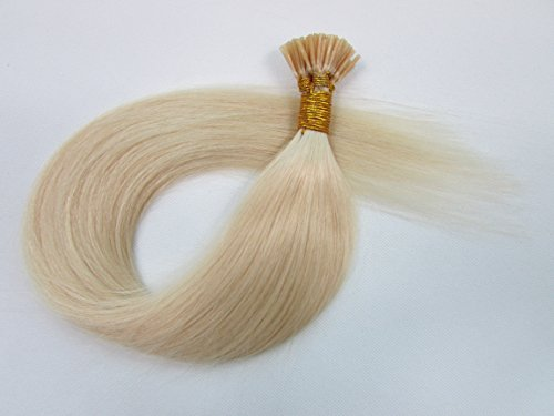 """FANGYUANHAIR 18"""" Virgin Remy Hair Pre Bonded Keratin Stick I Tip Human Hair Extensions 50g (0.5g/s) 100S / Pack Color - #60 Platinum Blonde"""