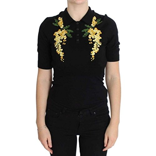 - Dolce & Gabbana Black Silk Floral Embroidered Polo Top