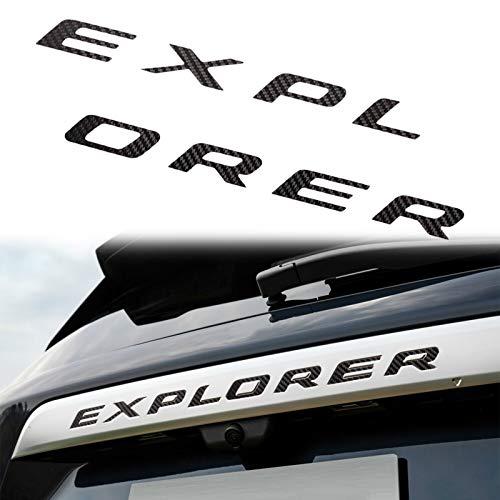 탄소 섬유 자동차 뒷문 엠블럼과 호환되는 MICOOS 포드 익스플로러 2020 2021(블랙)용 문자 장식 스티커 삽입