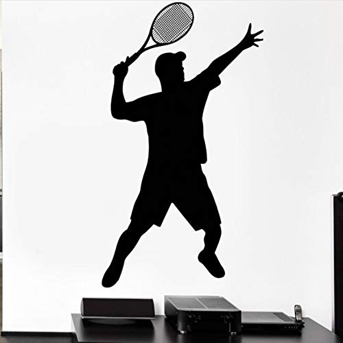 hwhz 33X57 cm Tennis Sport Wall Decal Ball Court Racket Supply Game Wall Sticker Gym Decoration Tennis Sports Palyer Vinyl Wall Art ()