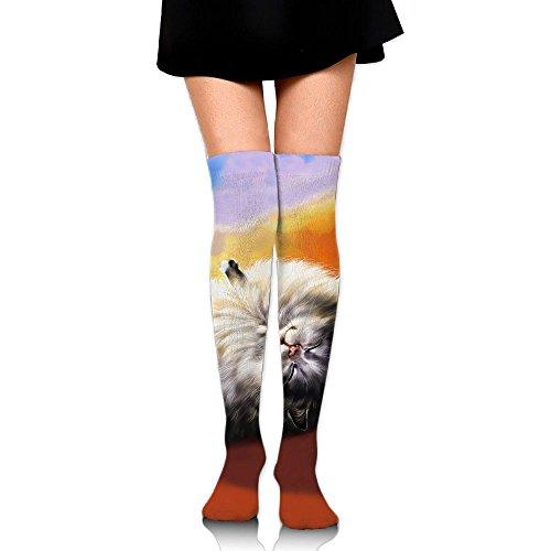 私たち自身浅いゆり子猫 ストッキング サイハイソックス 3D デザイン 女性男性 秋と冬 フリーサイズ 美脚 かわいいデザイン 靴下 足元パイル ハイソックス メンズ レディース ブラック