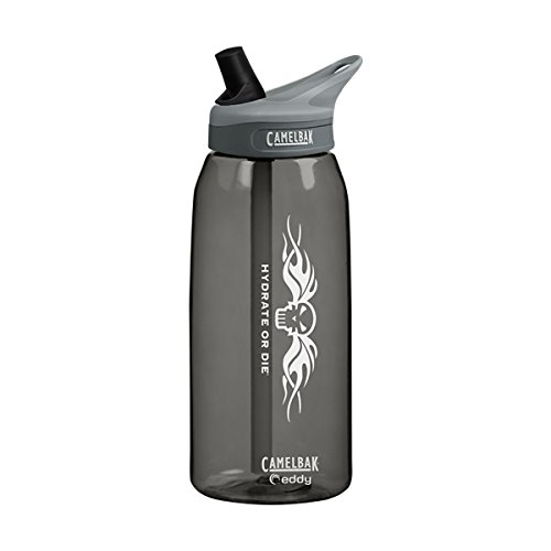 CamelBak eddy 1L Charcoal Water Bottle Hydrate or Die 53506