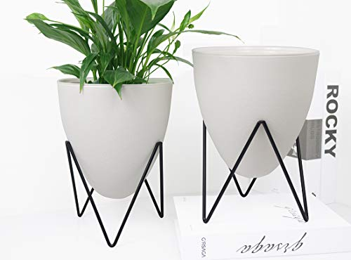 MUZHI 2PCS Egg Shape Self Watering Planters, Modern Decorative White Flower Pot with Stand for Indoor Plants (7.48
