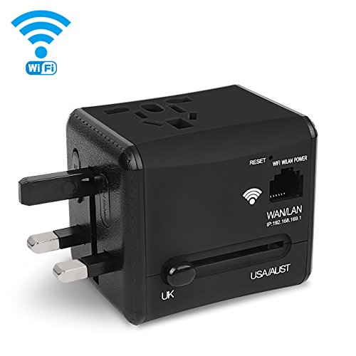 Price comparison product image Travel Adapter, Toki WIFI International Plug Adapter with Dual 5V 2.4A Dual USB Charger, Universal Power Converter Plug Wall Charger for UK, US, AU, Europe & Asia