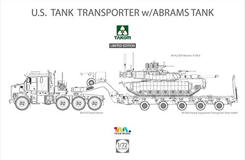 TAK05002X 1:72 Takom M1070 Truck Tractor M1000 US Tank Transporter with M1A2 SEP Abrams SEP II [Model Building KIT]