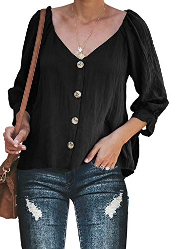 Button Up Long Sleeve Blouse - ZKESS Women's Loose Button Up V Neck Long Sleeve Blouses Casual Sweatshit Tops Black XX-Large Size
