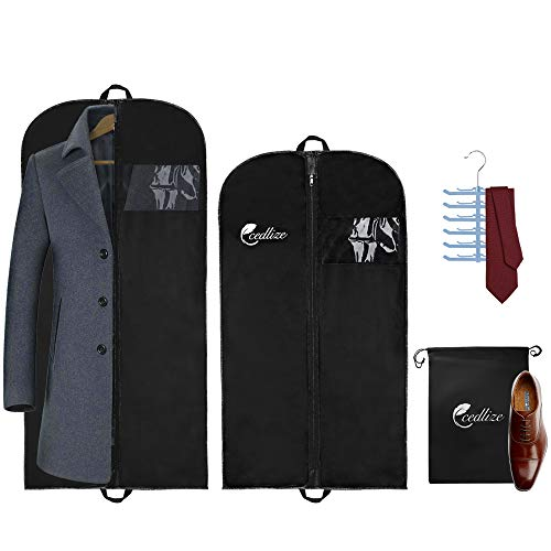 72fd612fae55 cedlize Garment Bags For Travel and Storage - Pack of 4 with Shoe-Bag and  Tie Hanger, 43-54 inch Suit Bag For Men - Strong Zipper Travel Garment Bag  - ...