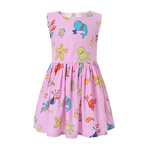 SMILING PINKER Little Girls Dress Cartoon Sleeveless Summer Cotton Dresses for Baby Toddler (Pink sea Creatures, 4-5)