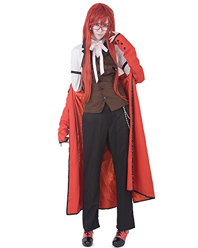 Miccostumes Men's Black Butler Grell Sutcliff Cosplay Costume Small Red
