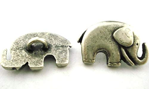Elephant Buttons, Antique Silver, 20mm, (4) Metal Button