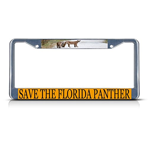 Save The Florida Panther Metal License Plate Frame Tag Border Two Holes Perfect for Men Women Car garadge Decor