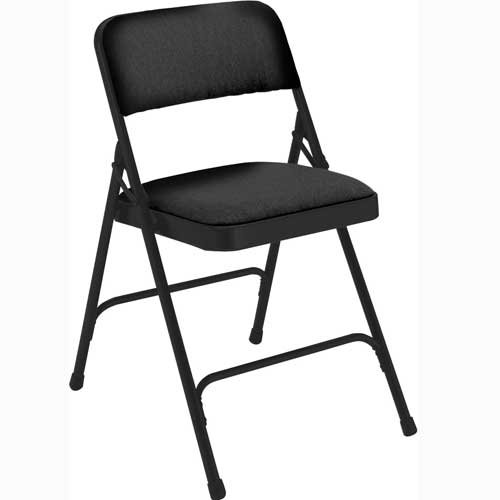 National Public Seating 2200 Series Steel Frame Upholstered Premium Fabric Seat and Back Folding Chair with Double Brace, 480 lbs Capacity, Black/Black (Carton of 4) by NPS