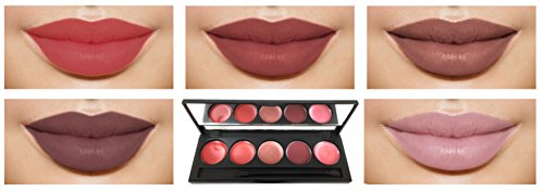 Lip Gloss Palette Highly Pigmented 5 Color Set with Mirror Bright Collection