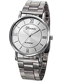 Geneva Watches SINMA Fashion Women Men Simple Chic Round Wristwatch Stainless Steel Analog Quartz Wrist Watch (Silver)