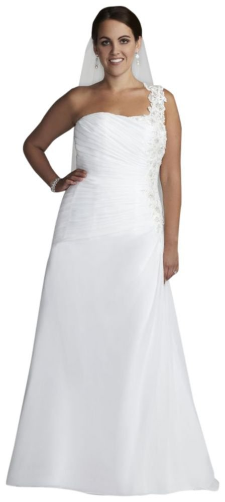 David's Bridal Sample: One Shoulder Chiffon Gown with Floral Appliques Style AI13012376. by David's Bridal