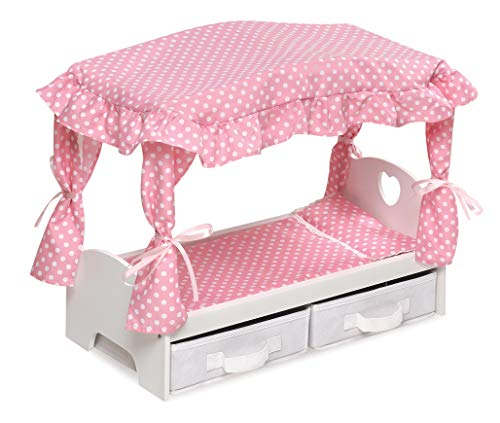 Canopy Doll Bed with Two Storage Baskets - fits American Girl Dolls (18 Inch Doll Canopy Bed)