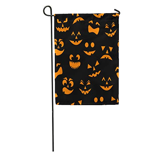 Semtomn Garden Flag Pattern Orange Halloween Pumpkins Carved Faces Silhouettes on Cartoon Carve Home Yard House Decor Barnner Outdoor Stand 28x40 Inches Flag